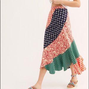 Free People Hidden Earth Cotton Medley Maxi Skirt